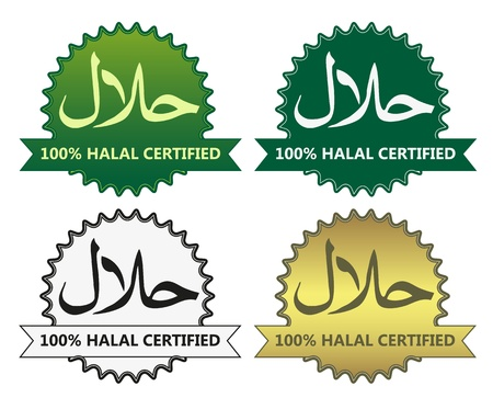 4 halal product labels Illustration