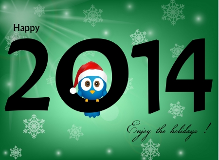2014 celebration background with funny blue bird Vector