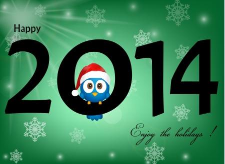 2014 celebration background with funny blue bird Banco de Imagens - 21330726