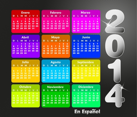 Colorful calendar for 2014 in spanish. Week starts on sunday  Vector