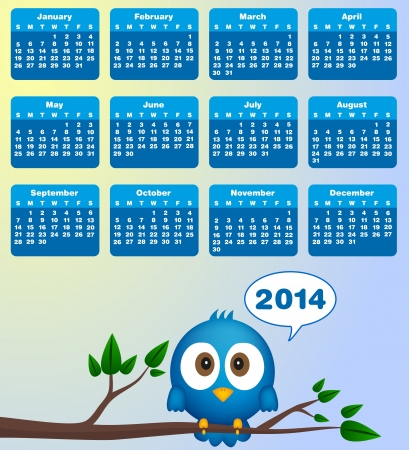 2014 calendar with funny blue bird Vector