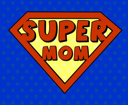 Super mom shield in pop art style Illustration