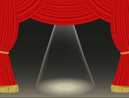 Theater curtains background with spotlight Stock Vector - 21330719