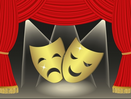 Theatrical masks on red curtains background Stock Vector - 21330720