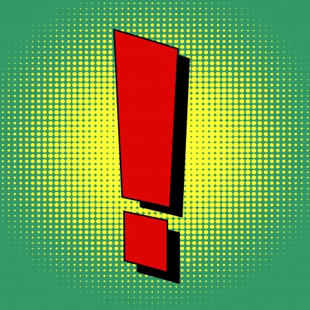 Exclamation mark in pop art style
