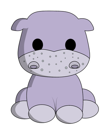Cute hippo cartoon Illustration