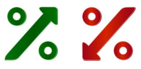 Símbolo de porcentaje con flecha arriba y abajo Foto de archivo - 23548420