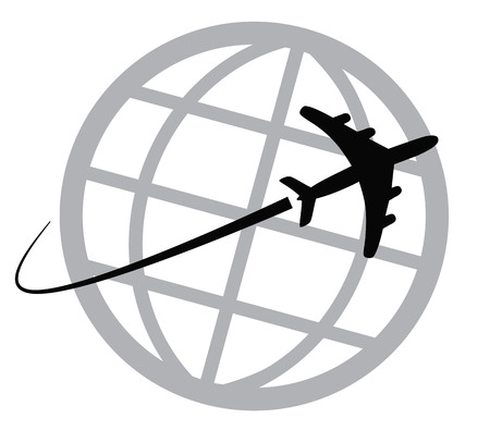 Airplane icon around the world Banco de Imagens - 23548422