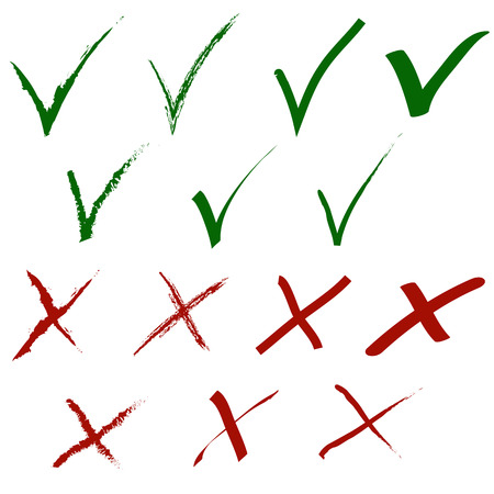 green tick: Grunge tick and cross