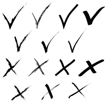 hand written: Grunge tick and cross