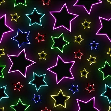 Seamless neon stars background Illustration