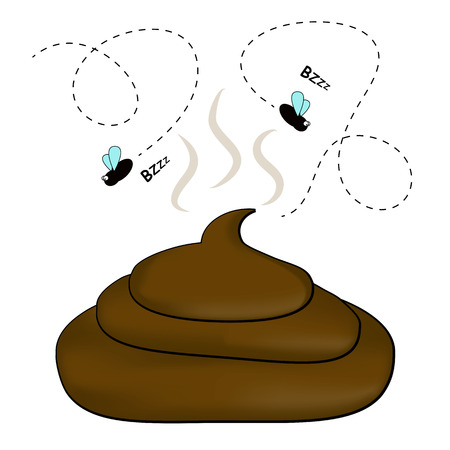 Smelly poop with flies Vector