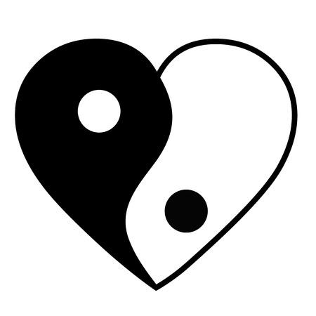 Yin yang heart Banco de Imagens - 25665362
