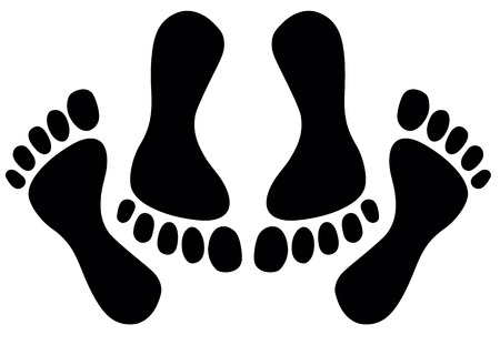 Feet of couple having