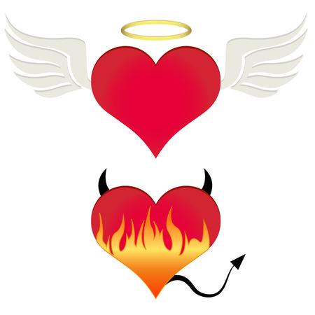 teufel und engel: Engel  Teufel Herz Illustration