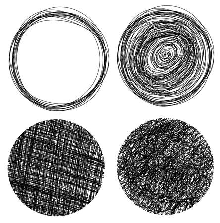 garabatos: Dibujado a mano grunge círculos Vectores