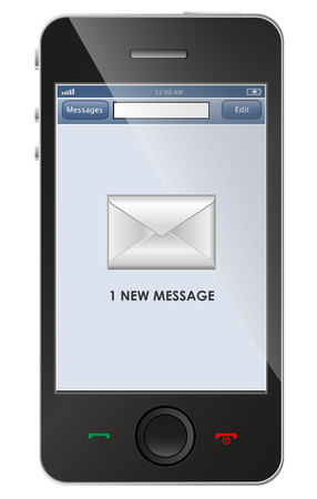 New message icon on smart phone Stock Vector - 25665487