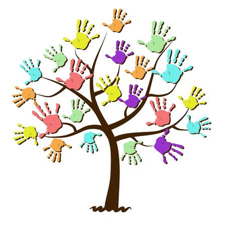 De los niños huellas de las manos unidas en árbol