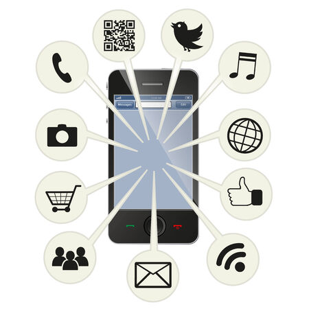 Social smart phone 向量圖像