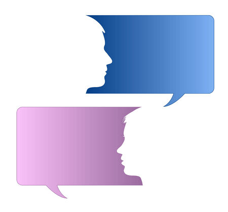 Speech bubbles with male and female face 向量圖像
