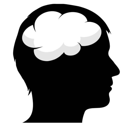 Male silhouette with brain Ilustração