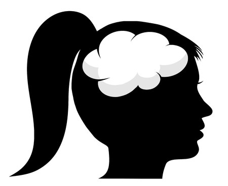 Female silhouette with brain