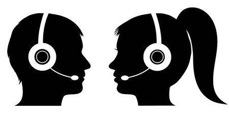 call center female: Male and female operator in call center