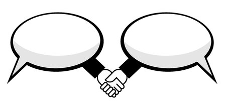 Hand shake between speech bubbles Ilustração