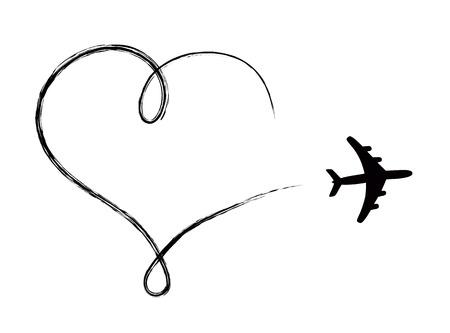Icono en forma de corazón en el aire, hecho en avión