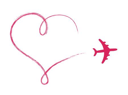 Icône en forme de coeur dans l'air, fait par avion