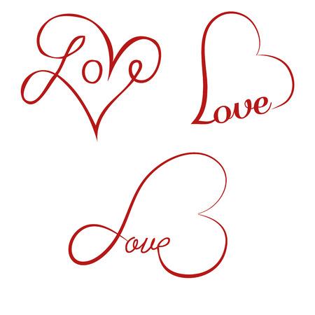 Love calligraphy hearts Illustration