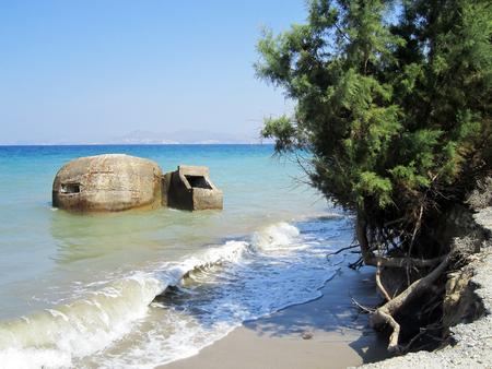 Bunker défensive Vieux près de Tigaki; Kos; Grèce