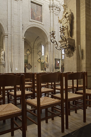 GHENT, BELGIUM-OKTOBER 26, 2014: Interior of  of St. Pete 's abbey. St Peter's Abbey is one of Ghent's foremost monuments. The magnificent garden with its ruins and ancient vineyard is a green oasis in the busy city and well worth a visit