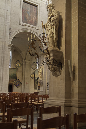 st  pete: GHENT, BELGIUM-OKTOBER 26, 2014: Interior of  of St. Pete s abbey. St Peter's Abbey is one of Ghent's foremost monuments. The magnificent garden with its ruins and ancient vineyard is a green oasis in the busy city and well worth a visit