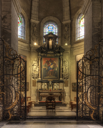 GHENT, BELGIUM-OKTOBER 26, 2014: Interior of  of St. Pete s abbey. St Peter's Abbey is one of Ghent's foremost monuments. The magnificent garden with its ruins and ancient vineyard is a green oasis in the busy city and well worth a visit