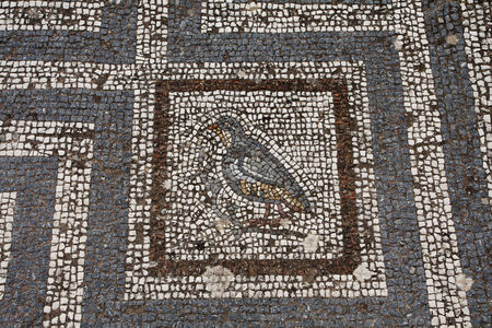 Old roman mosaic floor in Kos city; Greece Banco de Imagens