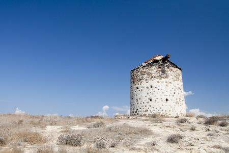 Ancient windmill in Kefalos, Kos; Greece Banco de Imagens