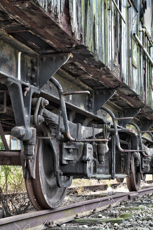 Rusty wheels of abandoned train Banco de Imagens