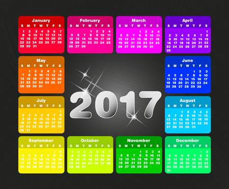january 1: Colorful calendar for 2017. Week starts on sunday