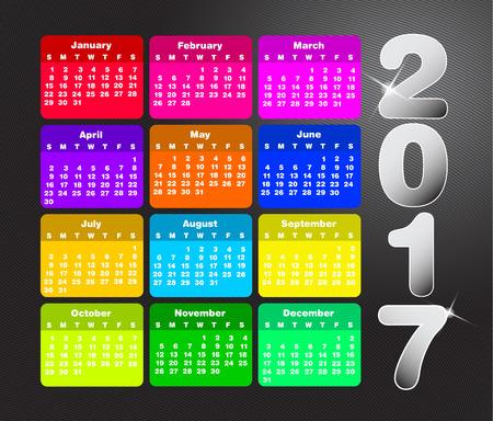 calendrier coloré pour 2017. La semaine commence le dimanche