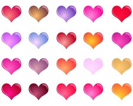 shiny: Colorful shiny hearts colection Illustration