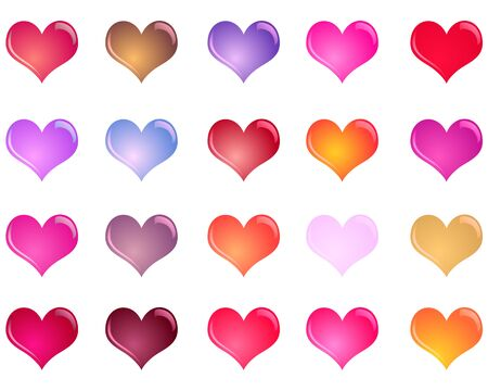 Colorful shiny hearts colection Illustration
