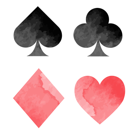 Watercolor playing card suits
