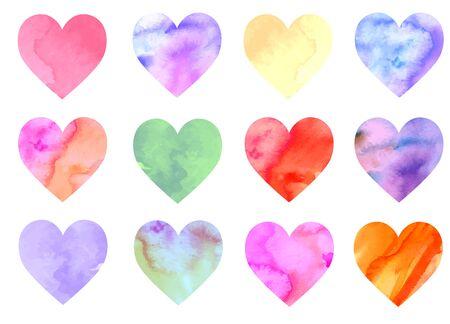 Colorful watercolor hearts Ilustração