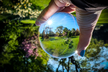 Beauty of spring seen through a glass sphere