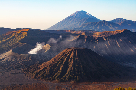 tengger: Mount Bromo volcano during sunrise, the magnificent view of Mt. Bromo located in Bromo Tengger Semeru National Park, East Java, Indonesia. Stock Photo