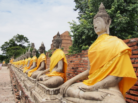 archaeological site: Buddha statue  within the archaeological site at Ayutthaya Province.