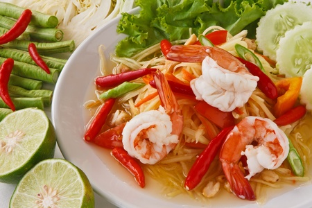 green papaya salad (traditional and modern thai food) photo