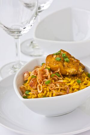 Modern thai food, Saffron rice with chiken Stock Photo - 9267637