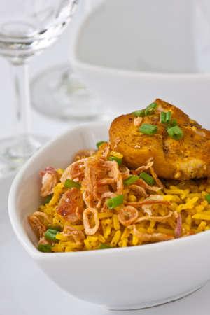 Modern thai food, Saffron rice with chiken photo